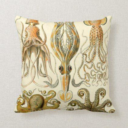 Reversible Vintage Octopus Squid Illustration Throw Pillow Zazzle Com Throw Pillows Vintage Octopus Pillows