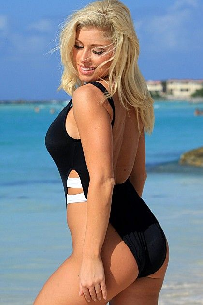 Make your legs look a mile long in the high cut one piece bathing suit.