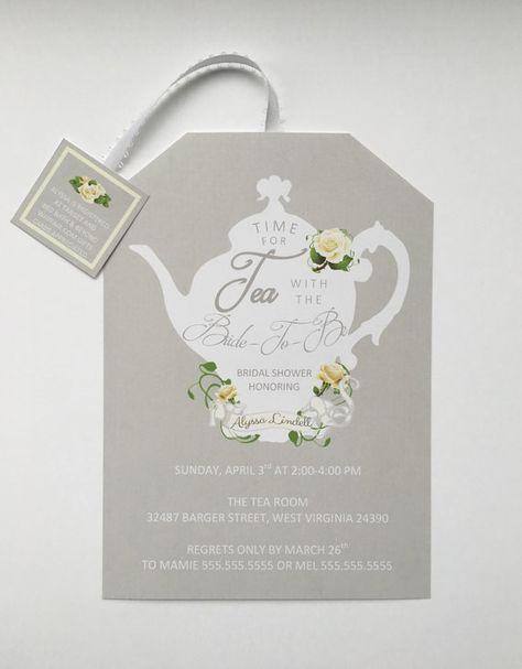 Printable Tea Party Shower Invitations Tea Pot Style