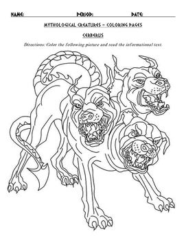 Greek Mythological Creatures And Monsters Coloring Page And Informational Text Greek Mythological Creatures Mythological Creatures Monster Coloring Pages