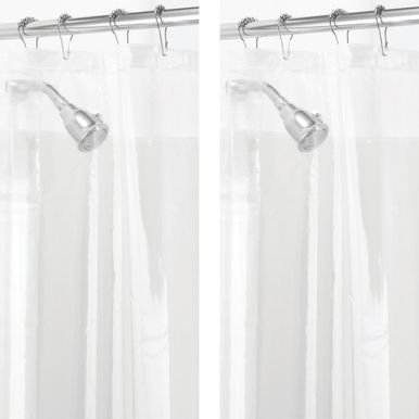 Mdesign Extra Wide Peva Shower Curtain Liners For Bath 108 X 72 Clear Set Of 2 Cool Shower Curtains Vinyl Shower Curtains Curtains