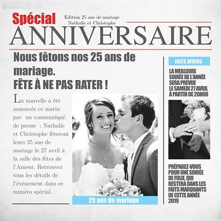 Carte D Invitation Anniversaire De Mariage Journal Invitation Anniversaire Anniversaire De Mariage Carte Anniversaire De Mariage