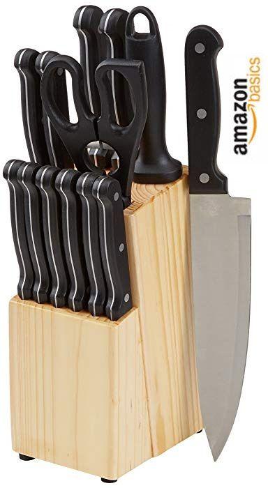 Chollo Set De Cuchillos De 14 Piezas Con Bloque De Amazonbasics Por 16 73 Euros Cuchillos De Cocina Juegos De Cuchillos Cuchillos