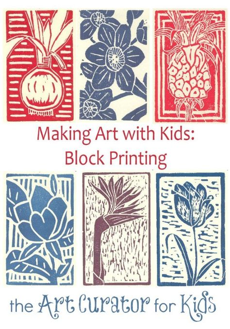 Art Curator for Kids - Making Art with Kids - Block Printing Art Tutorial, Printmaking, info on linocut printing