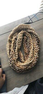 Handmade Crochet Infinty Scarf Beige Pumpkin Ginger Tan #fashion #clothing #shoes #accessories #women #womensaccessories (ebay link)