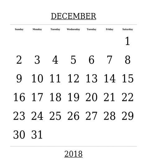 december 2018 calendar south africa