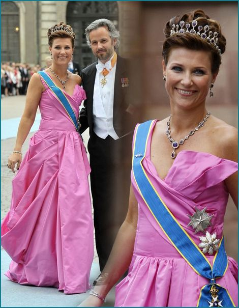 Princess Martha Louise also wore the amethyst tiara to the 2010 wedding of Crown Princess Victoria of Sweden to Daniel Westling