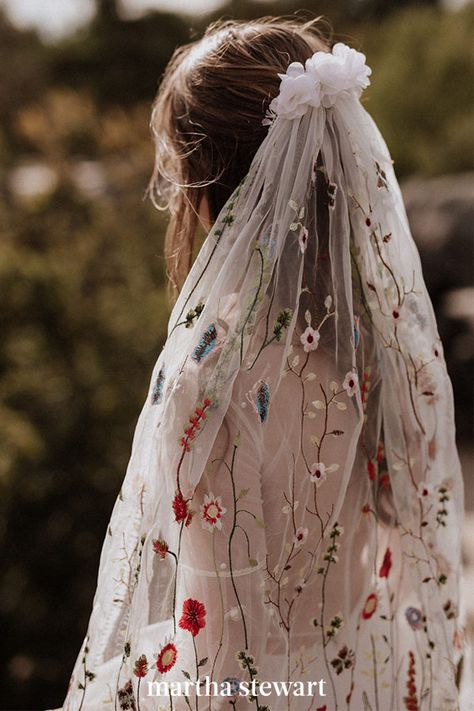 Bohemian brides, this colorful, embroidered veil by Elodie Courtat is for you. Filled with climbing cherry blossom vines and daisies, the veil has one additional floral touch: A textured petal topper, placed where the veil is pushed into the hair. #weddingideas #wedding #marthstewartwedding #weddingplanning #weddingchecklist Wedding Veils With Hair Down, Bride Hair With Veil, Wedding Bells, Boho Wedding, Wedding Rings, Wedding Girl, Simple Wedding Veil, Woodland Wedding Dress, Rustic Wedding