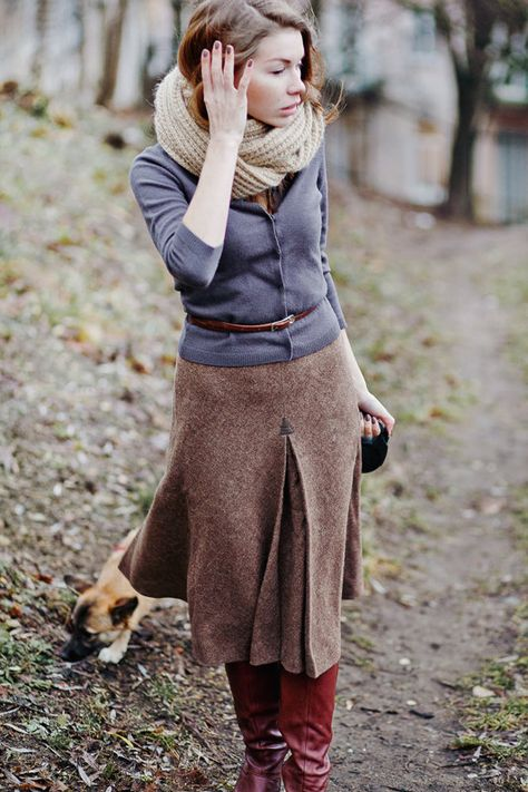 Tweed skirt, little cardi - dog included.