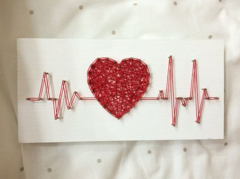 String Art Rhythm Heart Beat Sign Wall Art  The size: 8 x 4 inch (20 x 10 cm)  We do work in the style of string art on any theme: dc comics, Marvel, love, city, country, flags, animals, abstract, logos, names, descriptions, dates - any! All our products are exclusively handmade. For each product, we treat ourselves, coloring varnish base only handmade. We use only the highest quality wood, nails, thread, paints, varnishes, etc. It is important that each of our products receive great.  If youre
