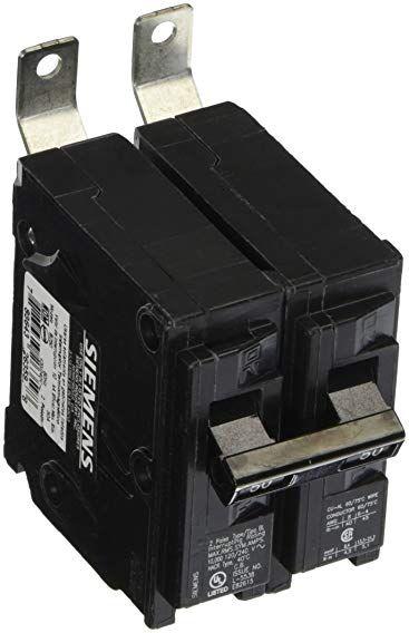 Siemens B250 50 Amp Double Pole 120 240 Volt 10kaic Bolt In Breaker Review Breakers Siemens Electrical Breakers