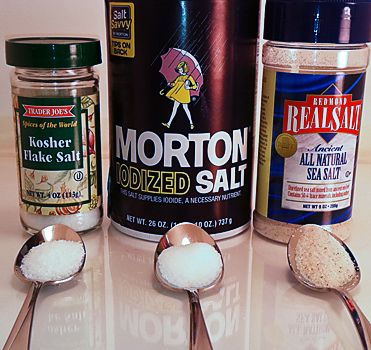 the difference between kosher salt, sea salt, & table salt   table