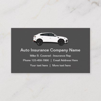 Modern Auto Insurance Rep Business Card Zazzle Com With Images