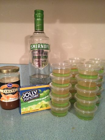 Another perfect fall jello shot recipe! Pair these with Fireball Jack-o'-Lan… Another perfect fall jello shot recipe! Pair these with Fireball Jack-o'-Lanterns for your next tailgate, bonfire or Halloween party! Yummy Recipes, Jello Shot Recipes, Alcohol Drink Recipes, Alcohol Jello Shots, Fireball Jello Shots, Green Apple Jello Shots Recipe, Fall Drinks Alcohol, Salad Recipes, Fireball Whiskey