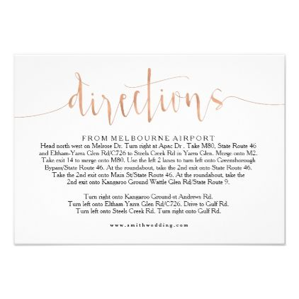 Rose Gold Wedding Directions Info Card Zazzle
