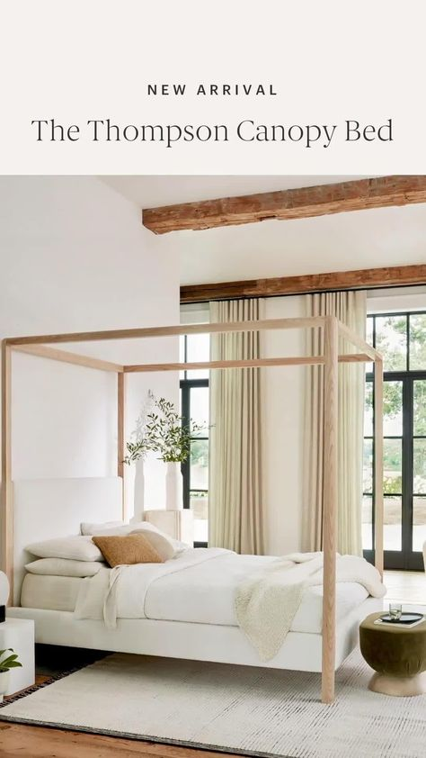The organic, refined silhouette of The Thompson Canopy Bed creates an elegant statement in any bedroom space. With a hand-carved solid ash wood frame and tailored detailing, this mixed material beauty is available in your choice of 50+ fabrics and leathers with 5 custom wood finishes.
