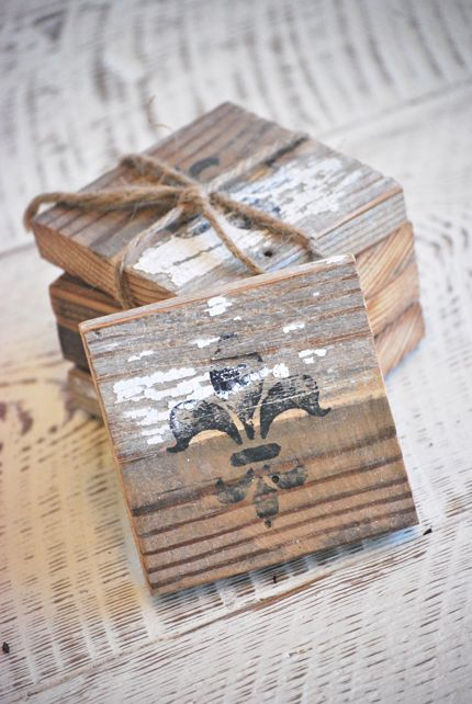 Old Barn Wood Coasters...with a stamped image.
