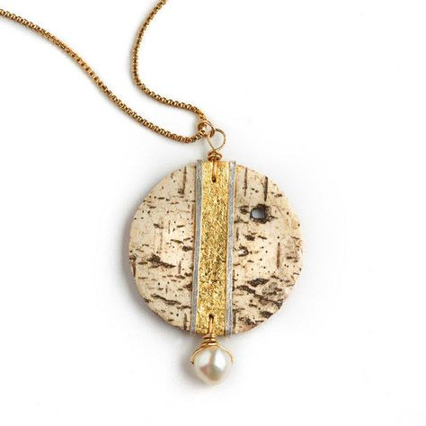 Tessoro Designer Necklace Item Number - Etruscan Collection Gold Leaf On Natural Birchbark, Hand Hammered Sterling Silver, Freshwater Pearl Vermeil Box Chain Length - Dimensions - 1