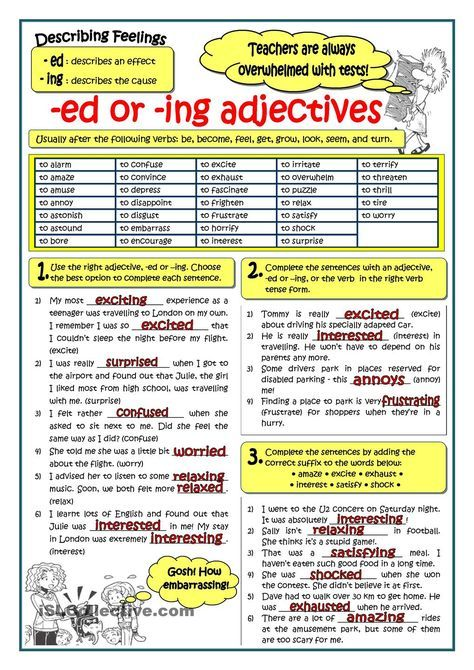 Adjectives Ending In Ed Or Ing Teaching English Grammar