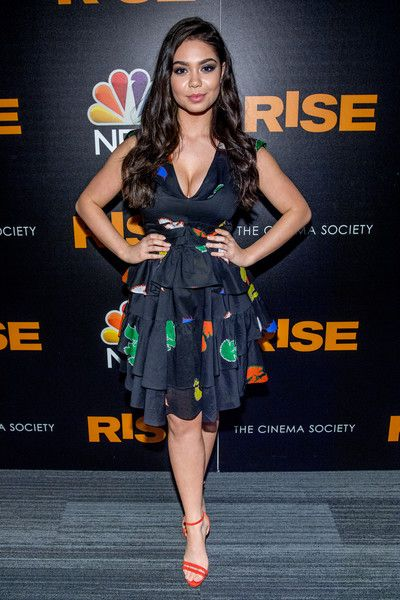 Auli'i Cravalho attends the 'Rise' New York premiere at Landmark Theatre.