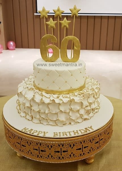 White And Gold Theme Customized 2 Tier Designer Fondant Cake For