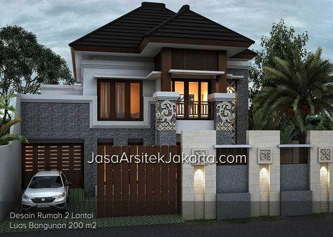 Desain Rumah 2 Lantai Luas Bangunan 200 M2 Bp Bachtiar Jasa Arsitek Jakarta Desain Rumah Eksterior Desain Rumah 2 Lantai Desain Rumah
