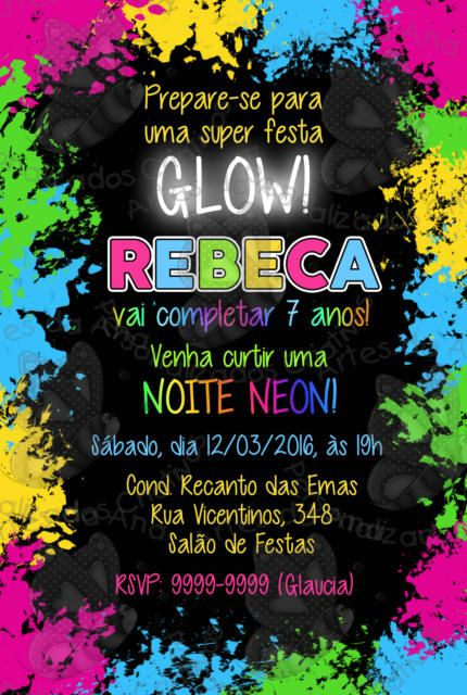 Convite Para Festa Neon Fiesta Neon En 2019 Fiesta Neón