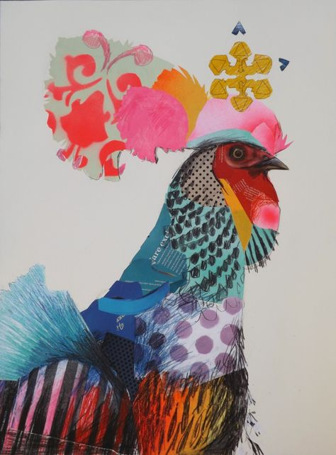 Australian modern artist Emma Gale mixes textures of crayons, pencils, feathers and fabric trim to create vibrant, rich, colourful and mesmerising collages.
