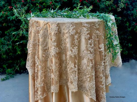 Vintage Wedding Table Cloth Gold Tablecloth Overlay Lace Tablecloth Table Runner Embroidered Lace Gold Ta With Images Gold Tablecloth Lace Table Vintage Wedding Table