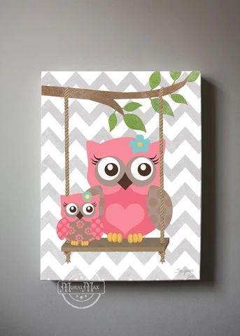 Still LOVE the grey chevron pattern! Owl Decor Girls wall art - OWL canvas art, Baby Nursery Owl with Swing woodland whimsical nursery art