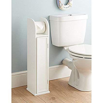 0061 Saxony White Wood Free Standing Toilet Paper Roll Holder Bathroom Storage Cabinet Amazon Co With Images Bathroom Storage Cabinet Vintage Bathrooms Bathroom Storage