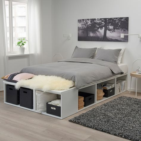 PLATSA Bed frame with storage, white - Shop online or in-store - IKEA Double Bed With Storage, Bed Frame With Storage, Diy Bed Frame, Diy Double Bed, Queen Beds With Storage, Bed Frame Double, Diy Storage Bed, Bedroom Storage, Storage Spaces