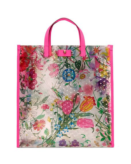 Gucci Techpack Floral Print Vinyl Tote Bag Gucci Tote Bag Printed Tote Bags Flora Print
