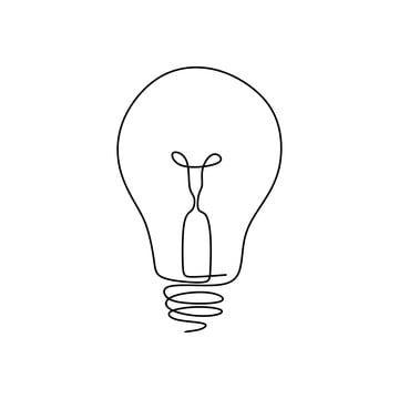 Nepreryvnoe Risovanie Odnoj Linii Lampochka Simvol Ideya I Kreativnost Na Belom Fone Minimalizm Dizajn Elektrichestvo Klipart Svetlyj Koncepciya Png I Vektor Pn Simple Line Drawings Line Art Design Light Bulb Symbol