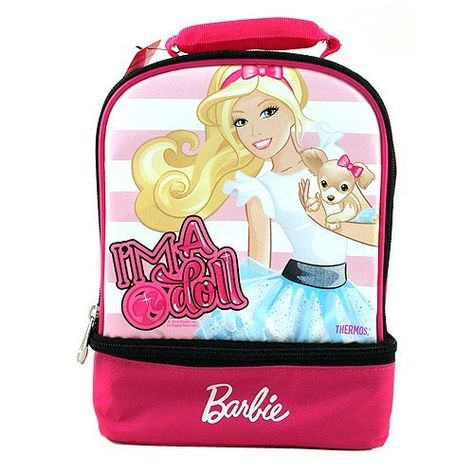 Barbie Thermos Insulated Double Compartment Lunch Bag [I'm a Doll] by Barbie. $18.90. This insulated lunch bag features 2 separate compartments, a 100% PVC free liner and everybody's favorite doll Barbie! Bag measures 11x7x5 inches approx.