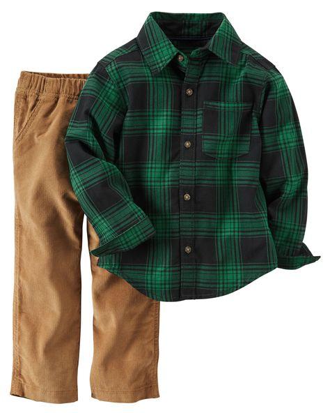 ca611f7fceb Baby Boy 2-Piece Plaid Button-Front Top   Corduroy Pant Set ...