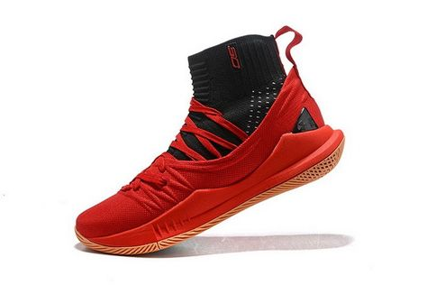 ece315c4624 Under Armour Curry 5 High Top Bright Red Black Mens Basketball Shoes ...