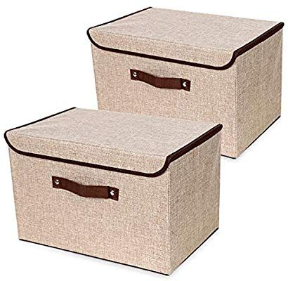 Amazon Com Storage Box With Lids And Handles 2 Park Thickening Linen Fabric Fol In 2020 Storage Boxes With Lids Collapsible Storage Cubes Storage Bins Organization