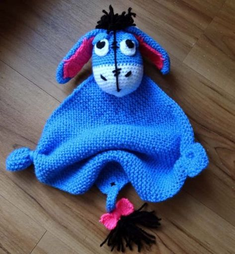 Fannysbuntewelt: Häkelanleitung Kuscheltuch Esel ~ Eeyore has to be translated but he is a cutie any toddler would love ~ FREE - CROCHET