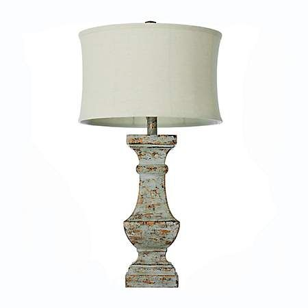 White Distressed Table Lamp