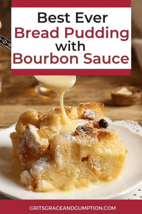 This traditional bread pudding with bourbon sauce is the perfect holiday dessert. It's decadent and delicious and you won't believe how easy it is to put together. It's based on a recipe from an old N Bread Pudding Sauce, Best Bread Pudding Recipe, Bourbon Bread Pudding, Pudding Recipes, Bread Pudding Recipe With Whiskey Sauce, Bread Puddings, Bread Pudding Recipe Without Raisins, Bread Pudding Recipe New Orleans, Louisiana Bread Pudding Recipe