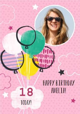 Pink Balloons Personalised Photo Upload Happy 18th Birthday Card Once You Ve Personalised Your C 18th Birthday Cards Personalized Birthday Cards Birthday Cards