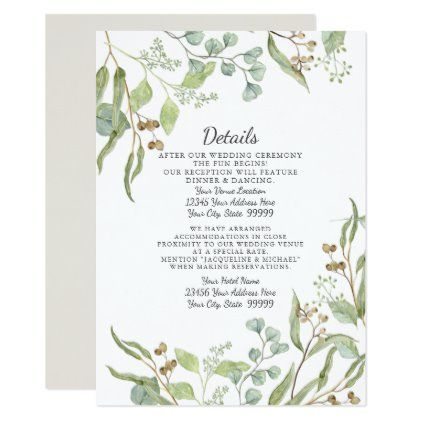 Reception Details Rustic Winery Eucalyptus Foliage Invitation Zazzle Com Blue Invitation Wedding Invatations Watercolor Invitations
