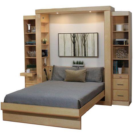 space saving bed, table wall bed, table and murphy bed, euro wallbed Murphy Bed Desk, Murphy Bed Plans, Murphy Table, Space Saving Beds, Space Saving Furniture, Murphy-bett Ikea, Diy Bett, Modern Murphy Beds, Bed Wall