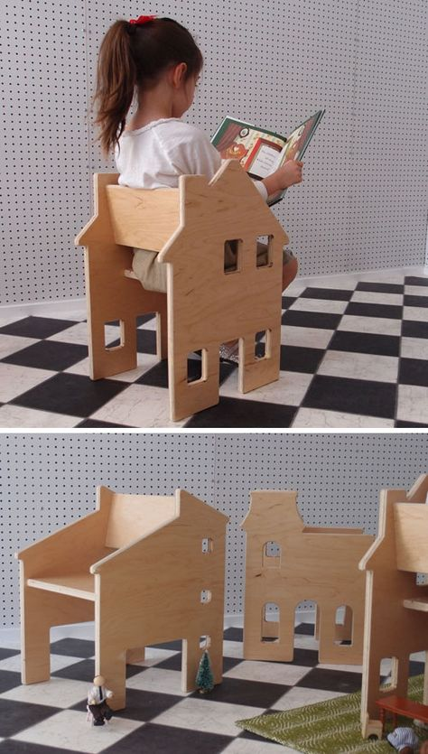 wood: Half chair, half dollhouse