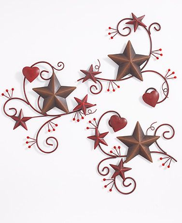 3 Pc Hearts And Stars Metal Wall Decor In 2020 Metal Wall Decor Star Wall Art Country House Decor