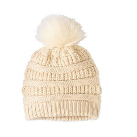 07083d78f67f60 Faded Glory Women's Textured Beanie With Pom, Beige | Products ...