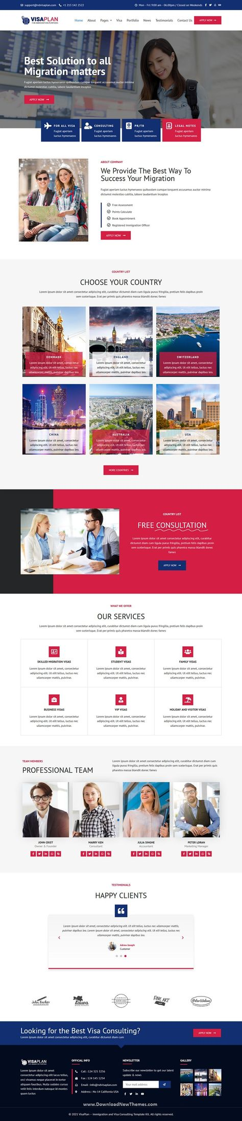 VisaPlan Immigration and Visa Consulting Elementor Template Kit