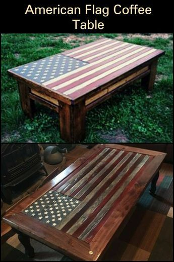 American Flag Pallet Coffee Table In 2020 Build A Coffee Table