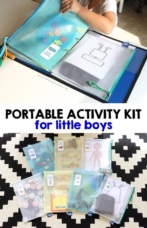 Portable activity kit that little boys love! So much fun here.